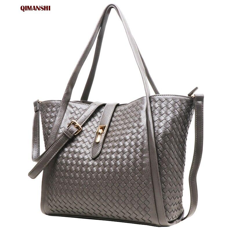 2017 QIMANSHI New Women Handbag Casual Composite Bag High Quality PU Solid Versatile Hasp Single Strap Lady tote bag large size