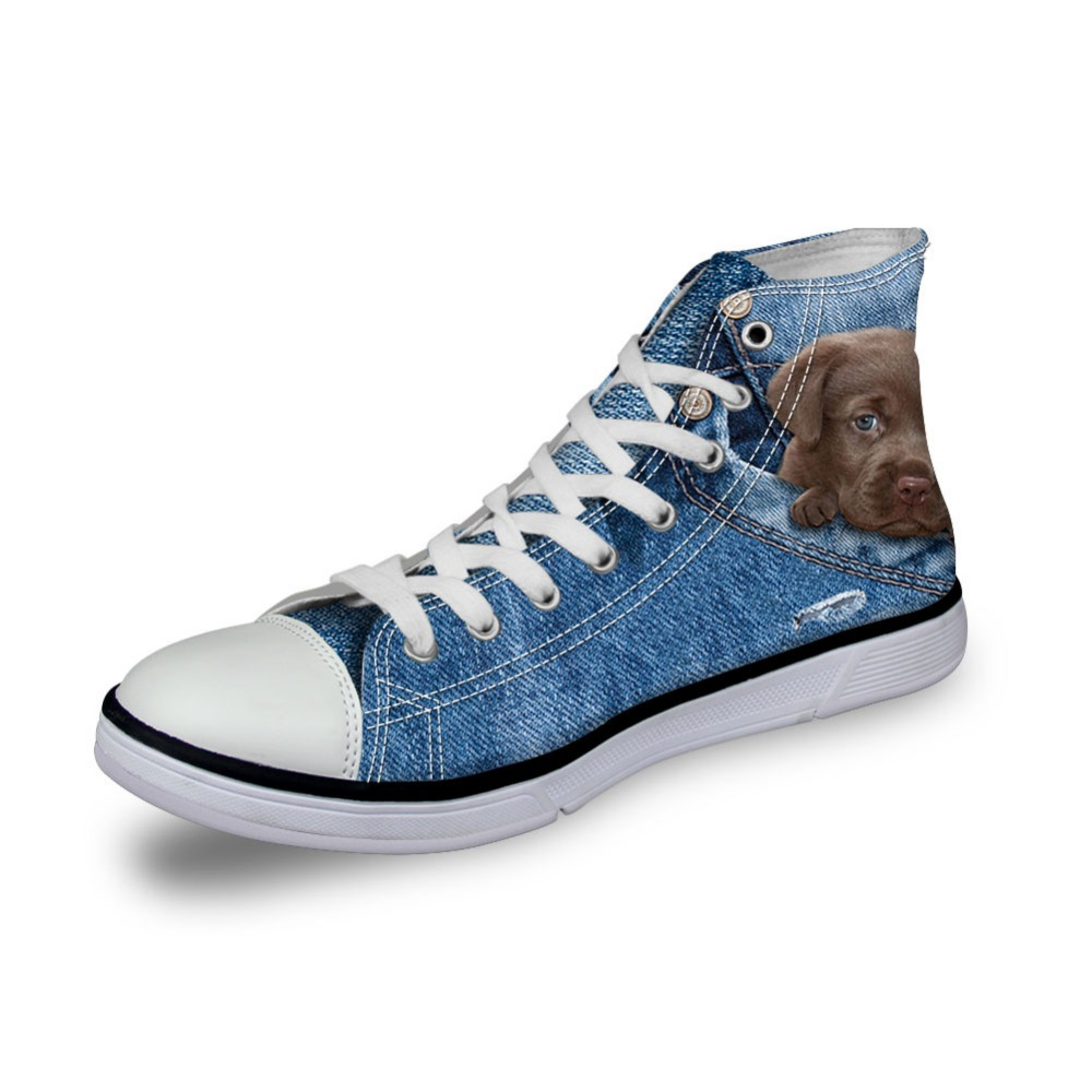 DAOKFPO Fashion Men Casual Sneaker Vulcanized High-Top Canvas Shoes,Male Flats Hand-painted Puppy Shoes Lace-up Shoes for Boy-04 hot sale 2016 top quality brand shoes for men fashion casual shoes teenagers flat walking shoes high top canvas shoes zatapos