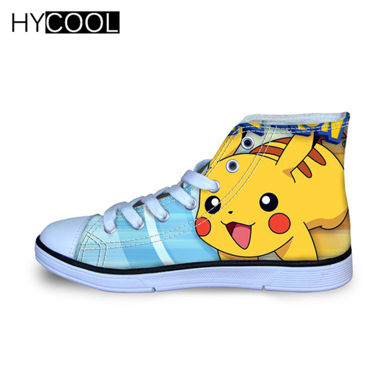 HYCOOL Kids Canvas Shoes Pikachu Pokemon Pattern Boys Sneakers For Outdoor High Top Walking Children's Shoes Sports Running Boot