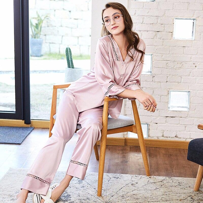 Spring New   Pajamas   Brand Women Pyjamas Home Suits Satin Silk V Neck Sleepwear Sexy Full Sleeve Long Pants   Pajama     Set   Spring