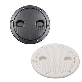 4 Inch/6 Inch White/Black Anti-slip Hand Hole Plastic Round Marine Boat RV Hatch Cover  Screw Out Deck Inspection Plate plastic kids hand boat