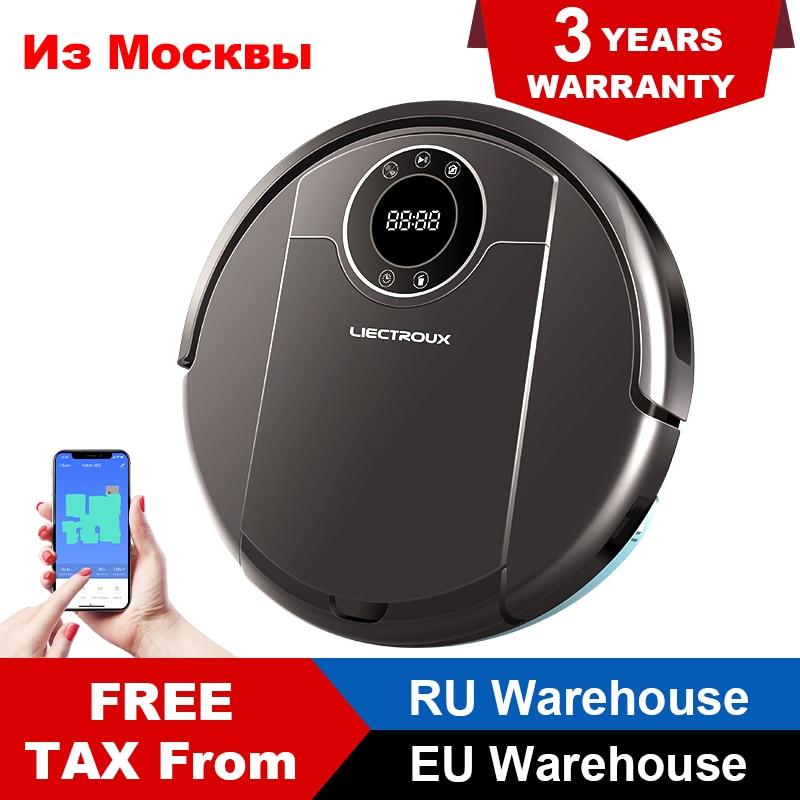 LIECTROUX ZK808 Robot Vacuum Cleaner Wifi App Controle, Mapa de Navegação, 3000PA Sucção, Inteligente de Memória, mop Seco molhado, Motor Brushless