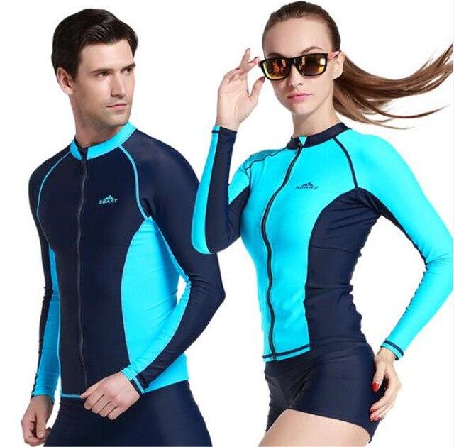 9e30366437b SBART Men Women Plus Size Rash Guard Zipper Jacket Wetsuit Surfing Diving  Long Sleeve Rashguard High Quality UPF50+ Swimwear
