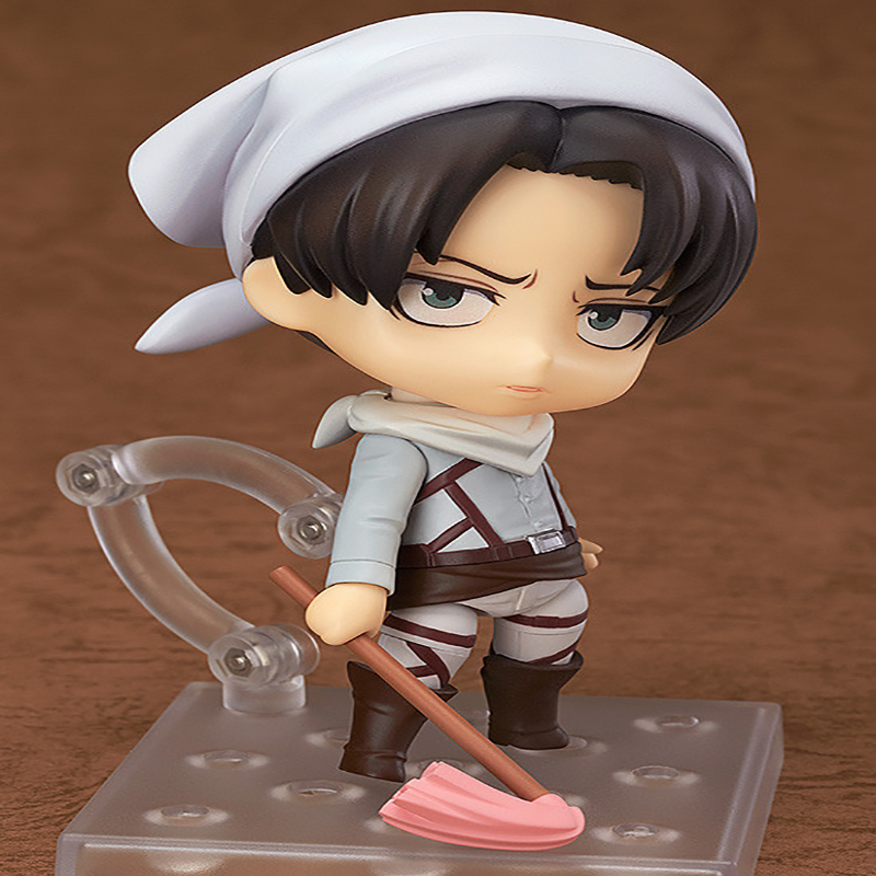 Anime Cute Nendoroid Attack on Titan 417# Cleaning Ver. Levi Doll PVC Action Figure Collectible Model Toy 10cm KT3656 deadpool pvc action figure nendoroid series collectible model toy 10cm deadpool toys for anime lovers christmas gift n044