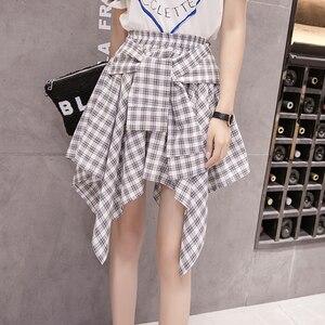 Image 3 - Женская винтажная клетчатая юбка, асимметричная юбка в стиле бохо с высокой талией, поясом и бантом, весна лето 202