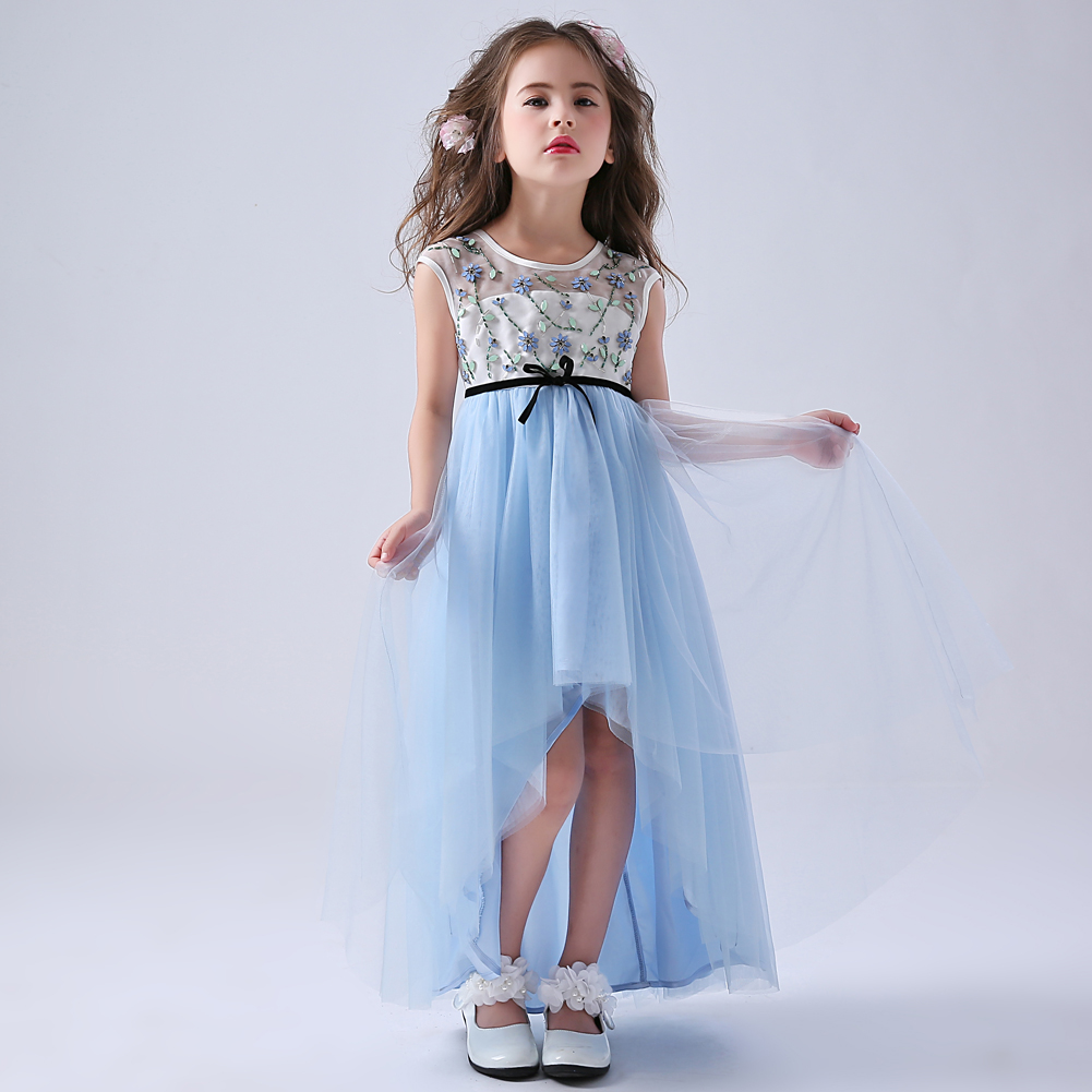 Long Back Short Front Light Blue Girl Formal Dress with Beading