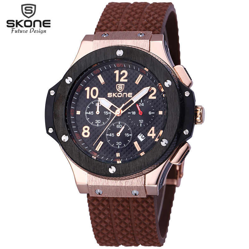 SKONE Male Date Chronograph Watches Men Silicone Strap Big Face Waterproof Sport Watch Casual Army Military Wristwatch Boys 2016 men army watch military male quartz watches fabric canvas strap casual cool men s sport round dial relojes hot sale wristwatch
