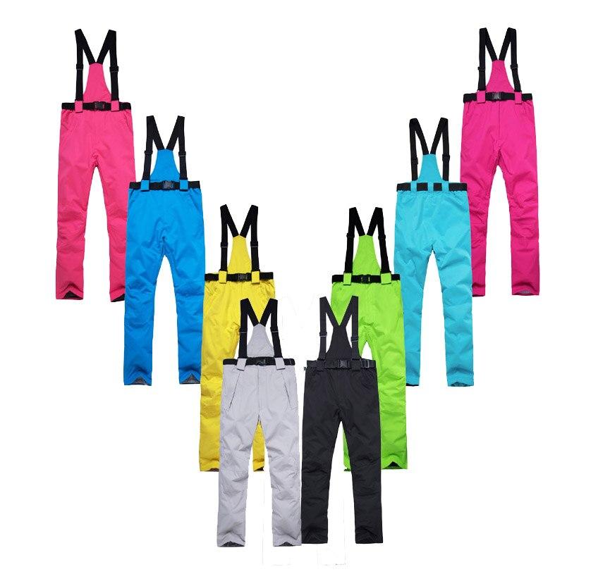 -30 Warm Unsex Women / Men Snow Pants Ourdoor Sports Belt Pant Snowboarding Trousers Warm Waterproof Windproof Bib Ski Suit