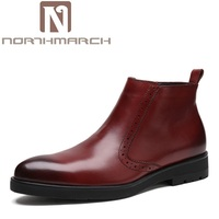 NORTHMARCH Men Boots Luxury Fashion Classic Business Office Formal Ankle Boots Genuine Leather Pointed Toe Men Shoes zapatos