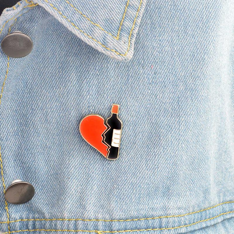 2-7 pz/set Sushi Rotto cuore Bottiglia di Vino di Viaggi Scheletro Spray Bere Animale Spilla Spille set Smalto Spille Distintivo delle donne Degli Uomini