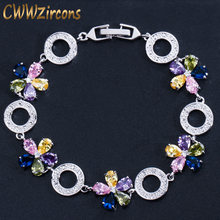 CWWZircons Beautiful Red Pink Purple CZ Crystals Flower Charm Bracelets for Women Fashion Party Engagement Ladies Jewelry CB162(China)