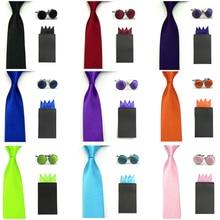 Men Solid Skinny Neck Tie Pre-folded 4 Folds Hanky Pocket Square Cufflinks Set  BWSET0041
