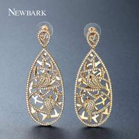 NEWBARK New Fashion Gold Color Long Dangle Earrings Paved AAA CZ Two Pairs Of Bird Bohemian