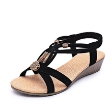 Hot Women Sandals For Summer 2016 New Vintage Style Gladiator Platform Wedges Shoes Woman Beach Flip Flops Bohemia Sandal XWZ591