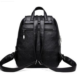 Image 4 - 2019 여성 가죽 배낭 여자를위한 고품질 여행 어깨 가방 여성 배낭 빈티지 bagpack cusual daypack rucksack