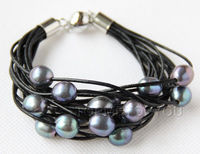 Free Shipping Hot Sale Women Bridal Wedding Jewelry 15Strands Genuine Black Pearls Black Leather Bracelet Magnet
