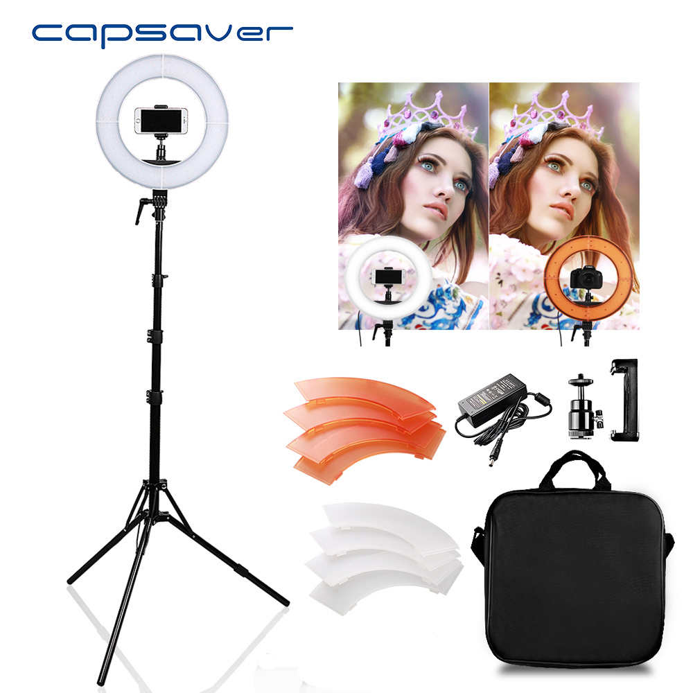 Capsaver RL 12 LED anneau lumière avec trépied circulaire photographie éclairage 5500K CRI90 196 LED s caméra Studio téléphone vidéo lampe-in Éclairage photographique from Electronique    1