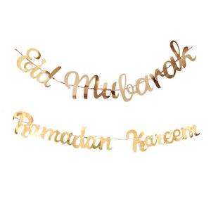 Image 4 - Gold Ramadan Kareem Decoration Eid Mubarak Paper Banner for Home Garland Muslim Festival Ramadan Kareem Islamic EID Banner