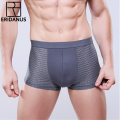 Men's Underwear Gentle Flexible Super-elastic Boxer Soft Bamboo Fiber Breathable Solid Cutting Grid-patterned Underpants M417
