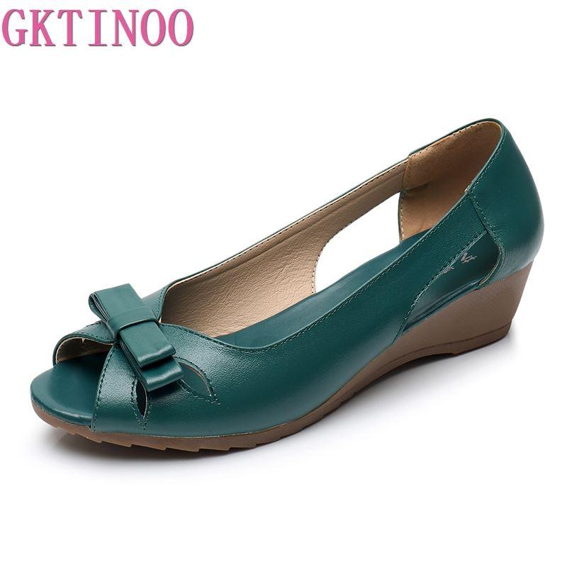 Image 2 - GKTINOO 2020 Summer Women Shoes Woman Genuine Leather Platform Sandals Open Toe Mother Wedges Casual Sandals Women SandalsLow Heels   -