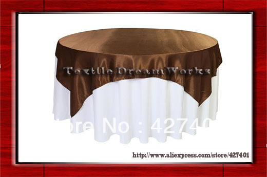 "Hot Sale 90X90 "" Square Chocolate Brown Satin Overlay  For Tablecloth Tablecover / For Wedding"