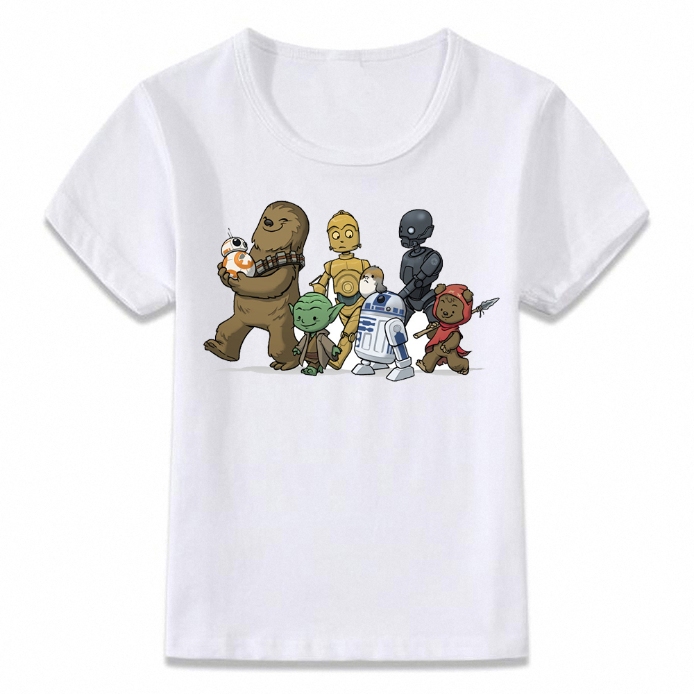 Kids Clothes T Shirt Chewie Yoda R2d2 Porg Star Wars T-shirt For Boys And Girls Toddler Shirts Tee
