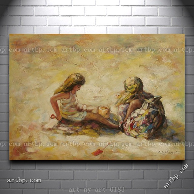 High Quality Oil Painting Of Two Little Girls Playing At Beach ...