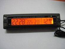For Multifunction Car voltmeter car inside and outside temperature electronic clock orange color backlit blue backlight 7046V