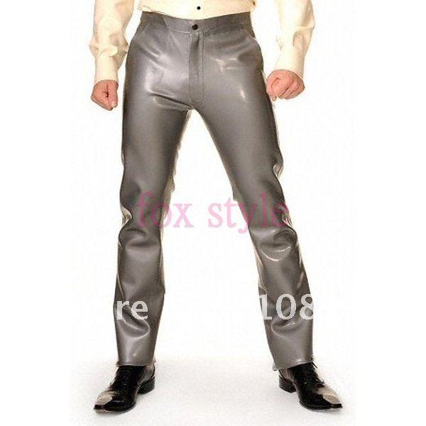 Мужские резиновые латексные джинсы брюки цвета металлик