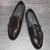 Italian Style Luxury Men Shoes Slip On Formal Dress Leather Shoes Fashion High Quality Flats Loafers Big Size Wedding Party Shoe