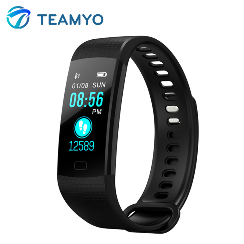 Teamyo bande À Puce Couleur Écran Moniteur de Fréquence Cardiaque Activité Fitness Tracker Smart Montres Sang Pression Alarme Horloge VS Miband 2