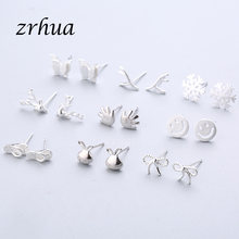 ZRHUA 925 Sterling Silver Splicing Cute Animal Stud Earrings For Women Casual Girl Brincos Personality Sterling-silver-jewellery(China)