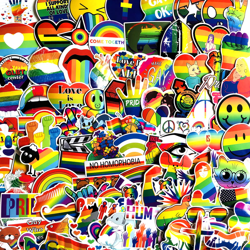 Image 5 - 100Pcs Gay Pride Rainbow Hand Reflective Car Sticker Decal PVC Irregular Funny Decal  Car Styling-in Car Stickers from Automobiles & Motorcycles