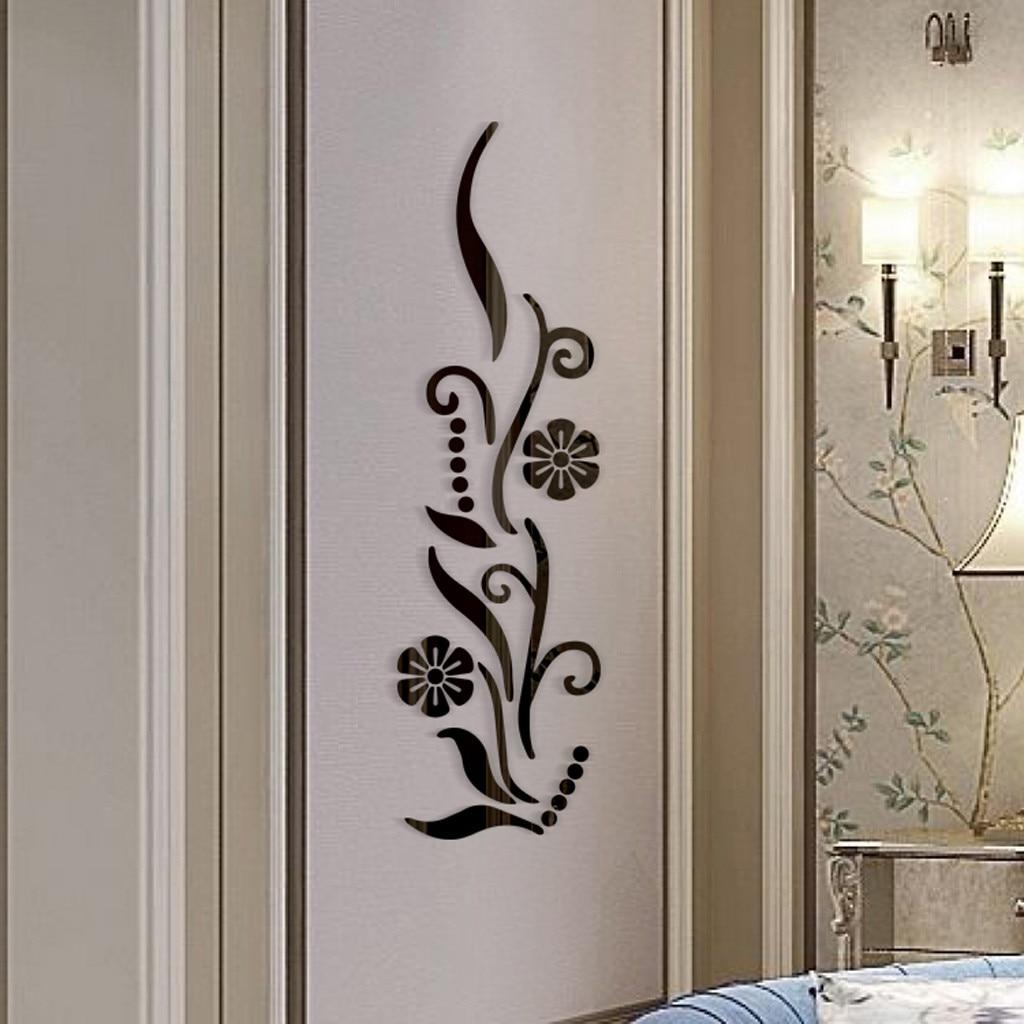 Tv Muur Decoratie.Bloem Badkamer Acryl Gespiegeld Decoratieve Sticker Muur Art Spiegel