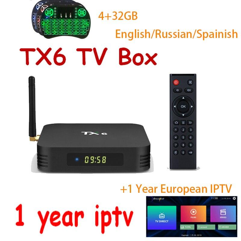Android 9 0 1 year iptv TX6 Allwiner H6 tv box 4GB 32GB 64GB 4K H