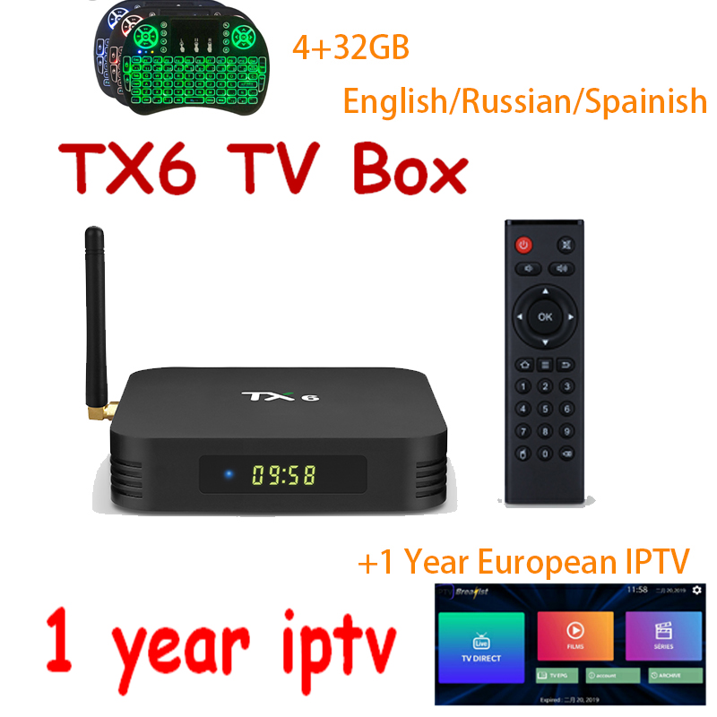 Android 9.0 1 year iptv+TX6 Allwiner H6 tv box 4GB+32GB/64GB 4K H.265 5/2.4G Wifi BT4.1 iptv subscription Smart set top tv box-in Set-top Boxes from Consumer Electronics    1