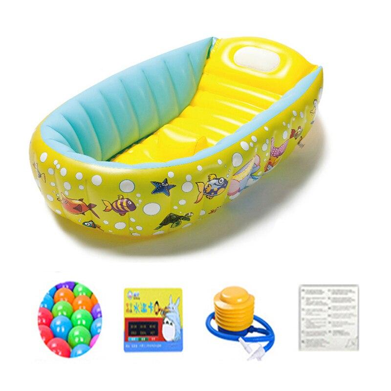 Plastic Baby Tub Swimming Pool +Air Pump Portable Bathtub Inflatable Bath Tub Child Tub Shower Cushion Keep Warm Folding Bathtub