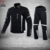 Reflective Blouson Moto Men's Motorcycle Motocross Off Road Racing Jacket waterproof Body Armor+ Riding Pants Clothing Set M 3XL