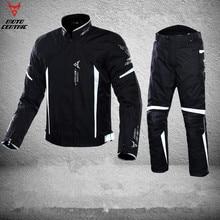 Светоотражающий Блузон мото мужской мотоцикл мотокросс внедорожная гоночная куртка водостойкая Броня тела + брюки для верховой езды комплект одежды M-3XL