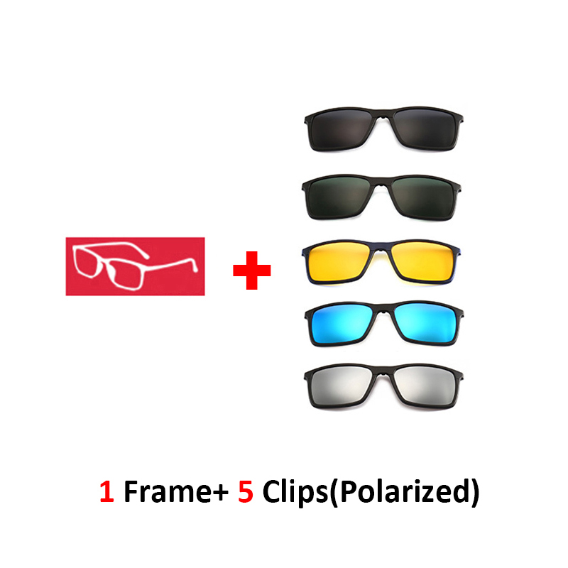 TR90 Magnetic Glasses 5 Sunglasses Clip on for Night Driving Spring Hinge Durable Bendable Optical Frame