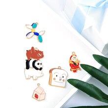 10PCS Animals Foods Enamel Charms Oil Drop Balloon Dog Bread Alloy Pendants DIY Bracelet Floating Jewelry Accessory YZ472