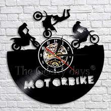 c163ff63fd0 1 peça Moto Disco de Vinil Bicicleta Relógio de Parede Arte Relógio de Parede  Relógios de