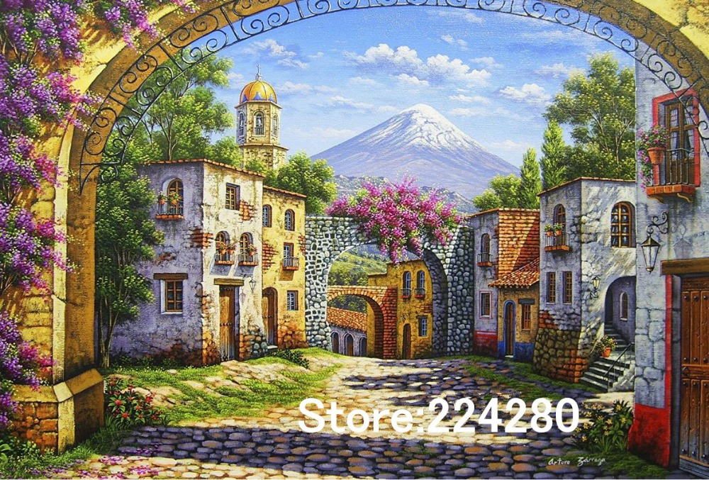 Needlework Arched door Country Town Scenery Handmade 14CT Counted Canvas DIY DMC Cross stitch kits For