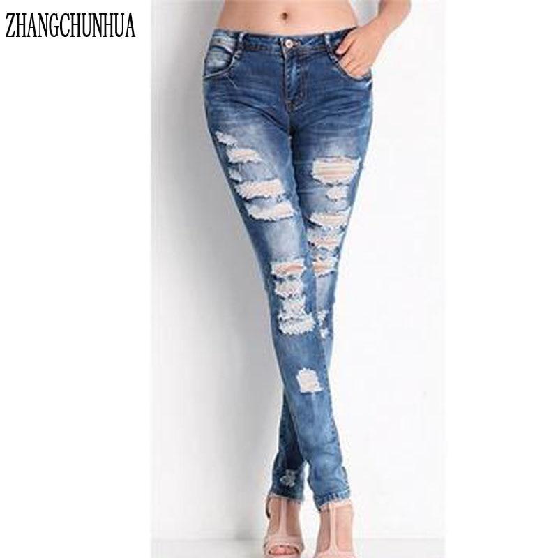 ZHANGCHUNHUA Women s Jeans Stretch Torn Stretch Mid Waist Boots Women s Jeans for Women Jeanss