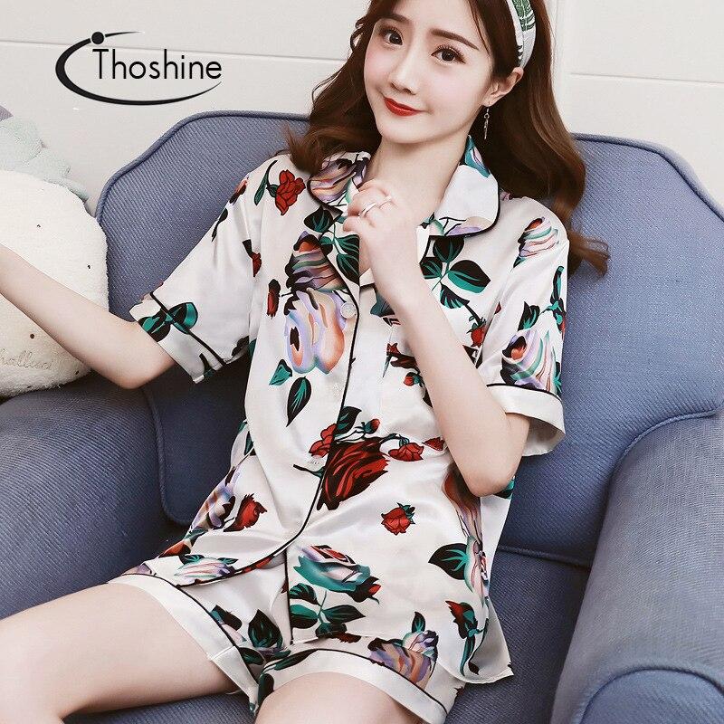 Thoshine Brand Summer China Satin Silk Women Print   Pajamas     Sets   Short Sleeve Turn Down Collar Female Button Closure Sleepwear