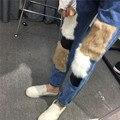 Mulheres Causal Calça Jeans Solta Calças de Pele de Coelho