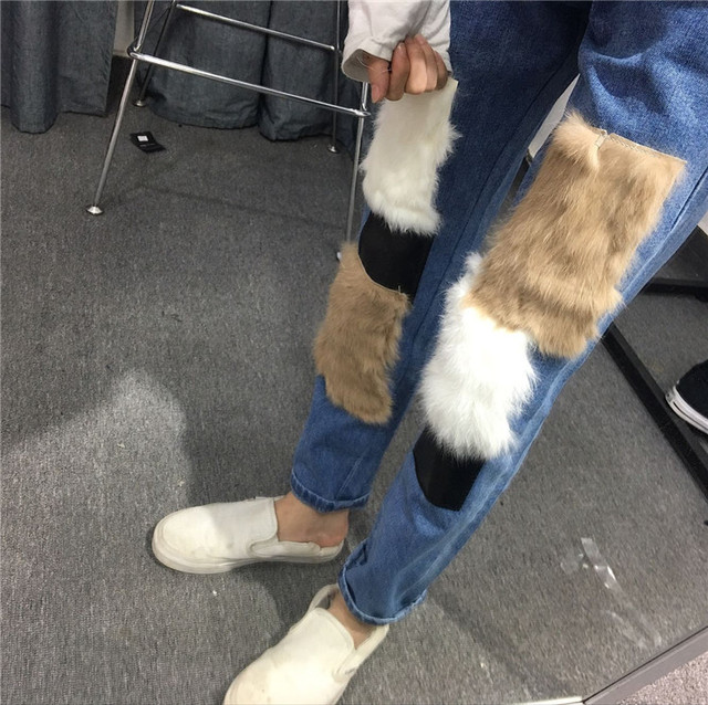 Women Causal Rabbit Fur Jeans Loose Pants