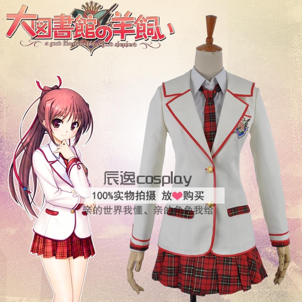 Daitoshokan no Hitsujikai Sakuraba Tamamo School Uniform Cosplay Costume E001