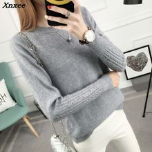 2018 new Hitz Korean women loose  sleeve head twist all-match thin sweater long sleeved sweater female backing Xnxee