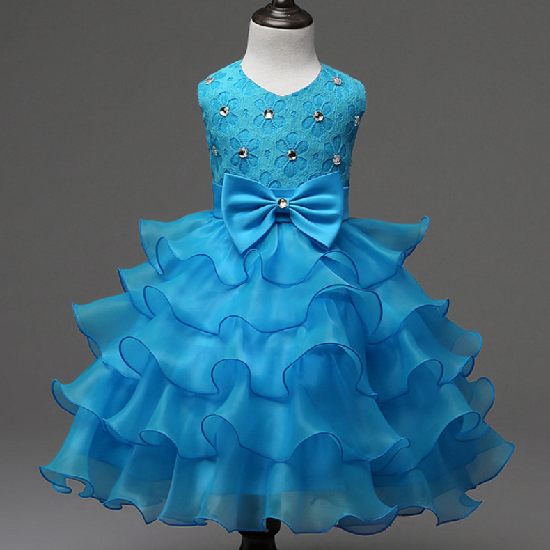 d586bbfaba US $13.72 24% OFF|Cute Baby Dress Wedding Party Rhinestones Embellished Red  Pink Beige Royal Blue Clothing Toddler Flower Girls Cupcake Dress-in ...